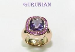 4.Rose gouden ring met amethyst en entourage gezet briliant geslepen roze saffieren