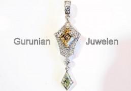 Wit gouden hanger met briliant geslepen diamanten en twee brown en geel kite geslepen diamanten
